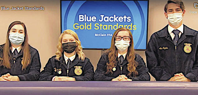 On April 9, members of the Greenfield FFA Agricultural Communications team met to complete a virtual contest. The team was made up of Aly Murphy, Natalie Rolfe, Alex Snyder and Taylor Harper. Each member had to complete an initial written portion, form a media plan, and film their informational video they named Blue Jackets, Gold Standards. The purpose of the media plan was to promote local ag teacher Chris Fitzpatrick. The contest has been ongoing since the middle of January. After a lot of hard work, the team placed first overall in the state for the second year in a row. A big thank you goes out to Drew Hamilton for assisting the team in filming their video.