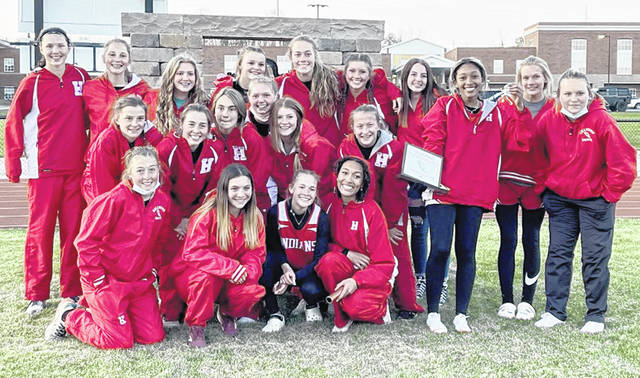 The Hillsboro Lady Indians are pictured Thursday after easily outdistancing the field at the eight-team Hillsboro Invitational.