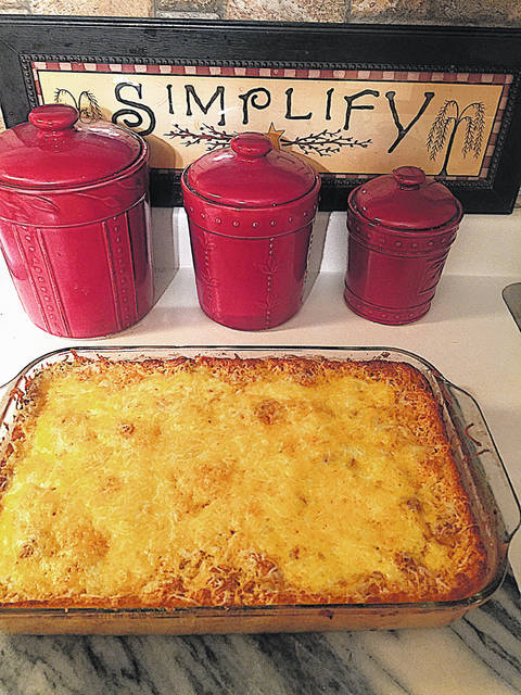 This is a picture of Sharon Hughes' baked macaroni and cheese.