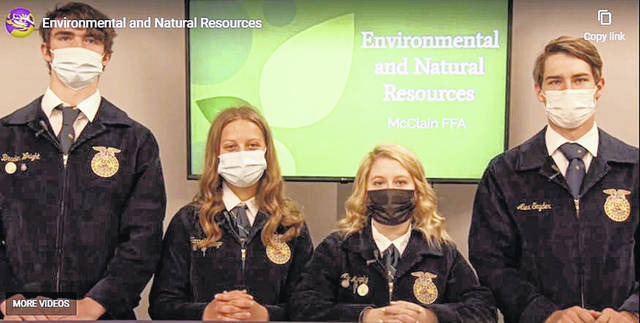 On April 16 McClain FFA members participated in the ENR virtual contest. The team was made up of Braden Wright, Aly Murphy, Alex Snyder and Hannah Crago (pictured). Each member of the team completed an online exam prior to the contest. Then they gave a presentation about some best management practices followed by a team activity including water analysis, soil analysis, GPS location and environmental analysis. The McClain team placed fifth overall in the state. Wright placed second as the top individual overall and Aly Murphy placed fourth overall as the top individual.