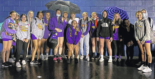 The McClain High School girls track team is pictured Thursday after winning the 17-team R.L. Davidson Invitational at Southeastern High School.