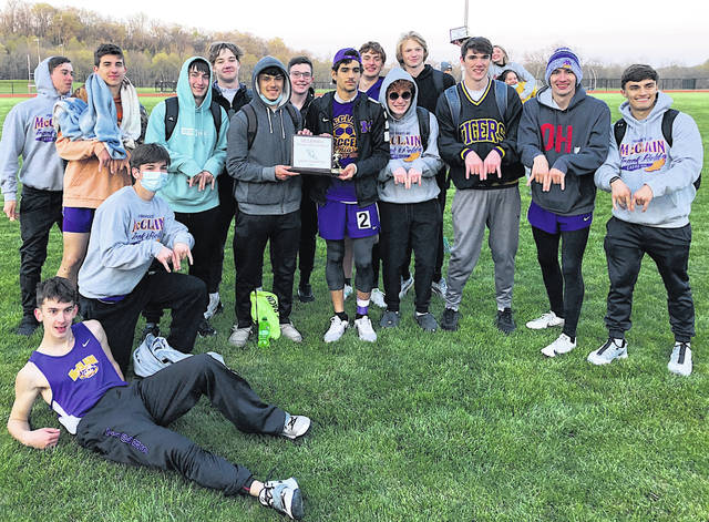 The McClain boys track and field team is pictured Thursday after winning the Hillsboro Invitational.