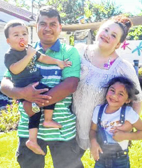 Lynchburg-Clay High School graduate Molley Chapol is pictured with her husband, Rodrigo, and children, Adabella and Sebastian.