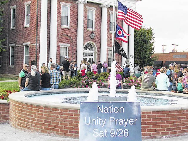 An estimated crowd of more than 200 people turned on a late September Saturday last year in front of the Highland County Courthouse in Hillsboro for a National Unity Prayer event. A similar event organized by the same group of women will be held at 6 p.m. Saturday, May 1 at the courthouse.