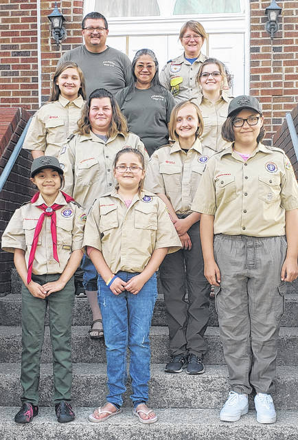 The first BSA Girls Troop in Highland County has started in Rainsboro. Troop 7316 had its first meeting April 6. The girls are excited to start camping, learning outdoor skills, hiking, learning citizenship, and more. The troop is open to girls who are completing the fifth grade or are 11 years of age, but not quite 18. Troop 7316 meets first and third Tuesday of every month at the Rainsboro United Methodist Church. For more info contact Scoutmaster Vicki Jenkins at 937-403-6818. Pictured are the members of the troop and its leaders.