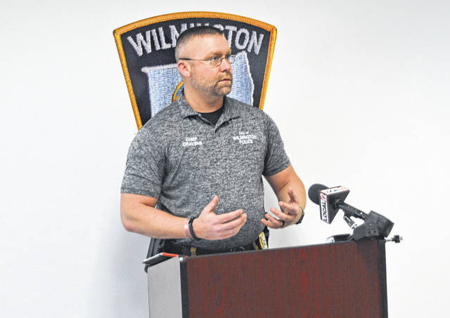 Wilmington Police Chief Ron Cravens is shown at a press conference held Monday afternoon.