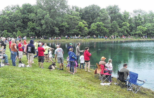 This is a scene from a past Daryle Unger and Peanut Fishing Derby at Mitchell Park in Greenfield.