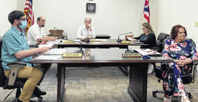 Greenfield Village Council members (l-r) Kyle Barr, Eric Borsini, Phil Clyburn, Amie Ernst and Brenda Losey are shown during Tuesday's meeting.