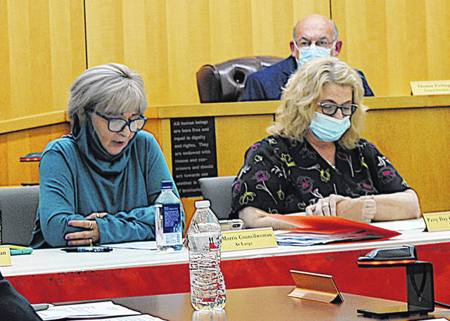 Hillsboro City Council members Ann Morris (left) and Patty Day are pictured at Monday's council meeting. Behind them is council president Tom Eichinger.