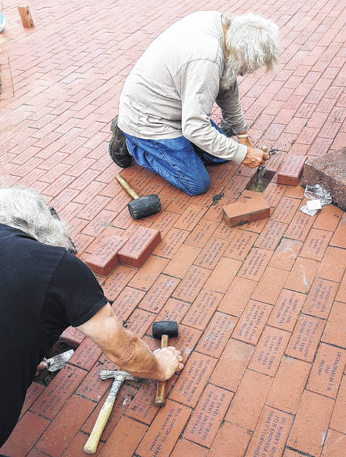 Shown are Gary Cruea (left) and Chuck Cruea helping to install service recognition bricks Tuesday at the Highland County Veterans Memorial. Both are veterans of the Vietnam era, with Gary having served his country from 1968-1972, and Chuck serving in the U.S. Air Force from 1965-1969.