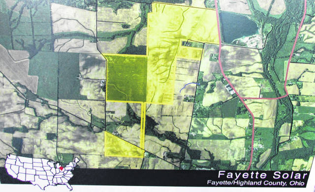 The highlighted part of this coverage map shows the parameters of Fayette Solar, provided by National Grid Renewables. Fayette Solar is proposed to occupy 517 acres of land in southeastern Fayette County, just across the Highland County/Fayette County line between Bonner, Barrett and Beatty Roads, and a segment of northeastern Highland County, roughly one-half mile north of Greenfield, with connection to the electric grid at the existing Greenfield substation.