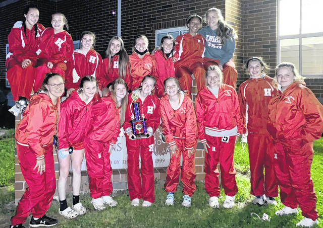 The Hillsboro girls track and field team is pictured after arriving back home Friday from the Bob Bergstrom Invitational in Greenfield where they finished as runners-up.