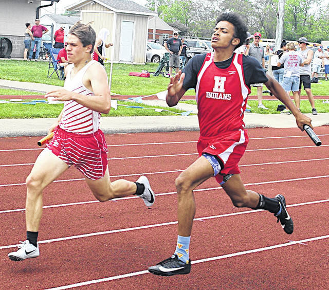 Hillsboro's Maliki Porter runs in the 4 x 400-meter relay at the Southeast Division II Track and Field Meet last week. The team that also included Logan Weber, Owen Ryan and Anthony Richards finished second in a time of 3:39.73.