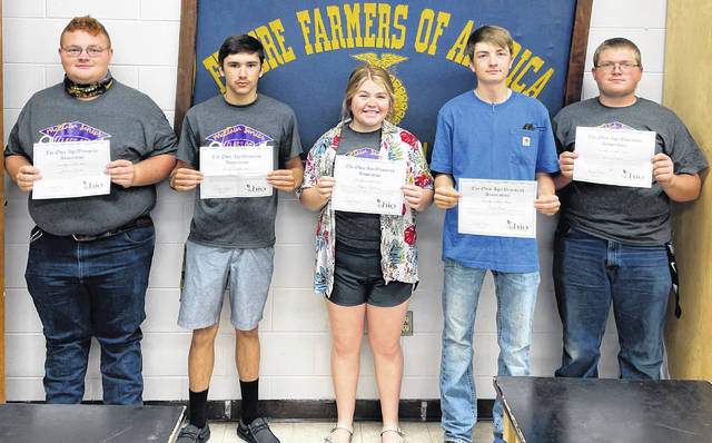 Pictured are five of the six McClain FFA students who recently earned Ohio AgriBusiness Association Agribusiness and Production Systems certification during the 2020-21 school year. The names of the students pictured were not submitted.