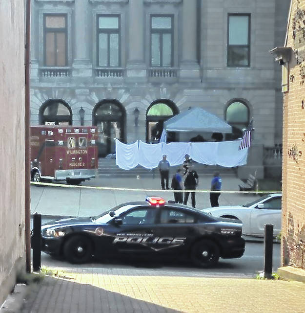 This was the scene Tuesday morning at the Clinton County Courthouse in Wilmington.