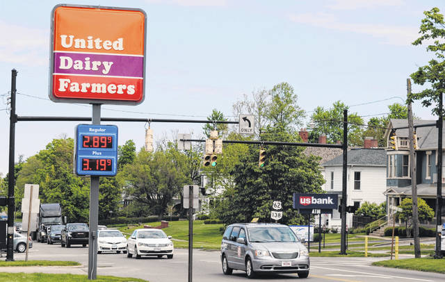 This is a picture of a sign showing gas prices at the United Dairy Farmers store in Hillsboro.