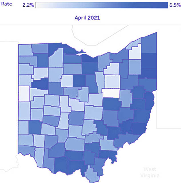 This graphic shows how high or low the unemployment rate is in all 88 counties in Ohio. The lighter-colored counties have lower unemployment while darker-colored counties have higher unemployment rates.