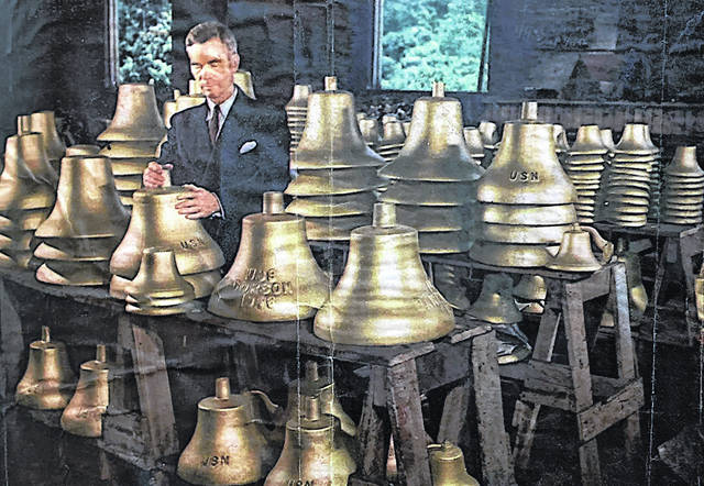 C. S. Bell Company bells made in Hillsboro for the United States Navy during World War II are shown in this picture. Also pictured is Ignatius Lee, a local Presbyterian minister who blessed the bells before they left the factory.