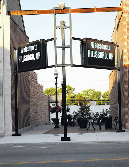 The sign at the former Colony Theatre location is shown as it looked Wednesday evening. The city of Hillsboro has plans to make additions to the current design.