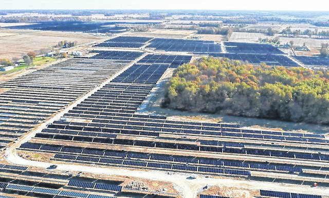 This is an aerial view of the Innergex Hillcrest Solar Panel Farm located just across the Highland/Brown County line near Buford, which the company said is nearing completion.