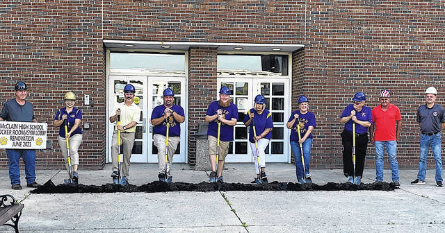 Monday evening marked the groundbreaking for the McClain High School gym renovation/expansion project. Pictured (l-r) are district maintenance supervisor Jeff Pence; superintendent Quincey Gray; board members Eric Zint, Eric Wise, Charley Roman, Marilyn Mitchell and Sandy Free; district treasurer Joe Smith; and WAI Construction Group representatives Carlos Stapleton and David Stewart.