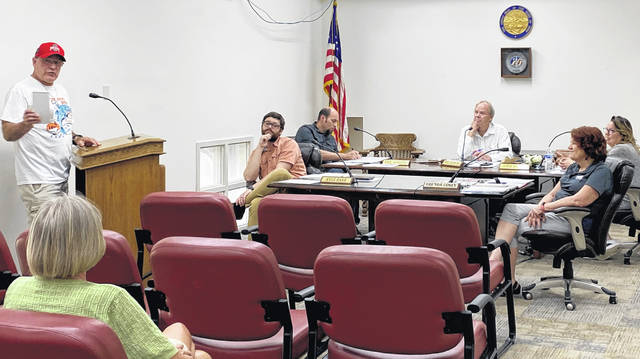 Jim Jones, the longtime organizer of an annual kids' fishing derby at Mitchell Park in Greenfield, is pictured speaking to council members at their meeting Tuesday. Jones and his wife, Liz, along with many others who supported the event, turned out to give gratitude to everyone that helped make the derby a success. Council members pictured (l-r) are Kyle Barr, Eric Borsini, Phil Clyburn, Brenda Losey and Amie Ernst.