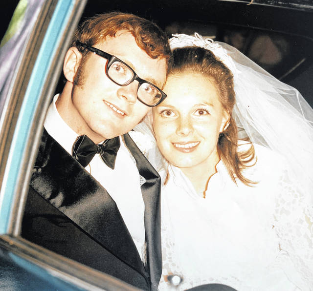 Mary Ellen and Mike McCarty will celebrate their 50th wedding anniversary on June 19. They were married at the Christian Union Church in West Union on June 19, 1971. The McCartys lived in Peebles from 1971 to 1973. They moved to Hillsboro in 1973 and have lived there since. They have two sons, Christopher of Chillicothe and Kevin of Valley Village, California. Friends and family are invited to a reception at the Hillsboro First United Methodist Church, 133 E. Walnut St., Hillsboro, from 2-5 p.m. on Saturday, June 19. No gifts please. They are pictured on their wedding day and in a more recent photo.