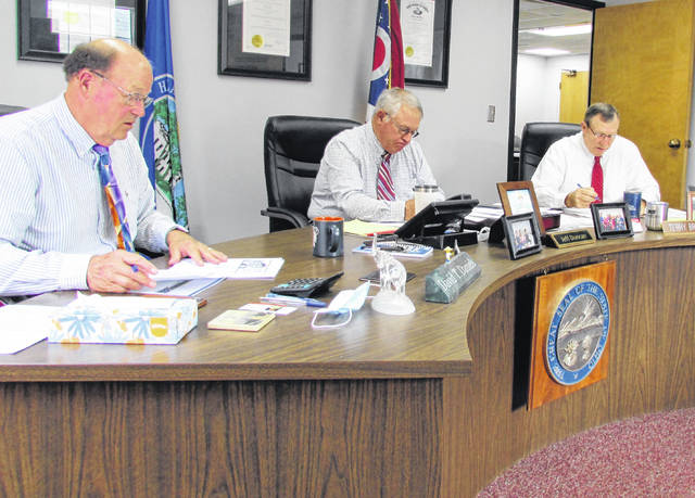 From left, Highland County Commissioners David Daniels, Jeff Duncan and Terry Britton are shown during Wednesday's meeting.