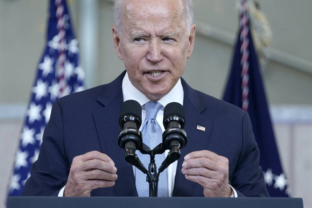 In this July 13, 2021, photo, President Joe Biden delivers a speech on voting rights at the National Constitution Center in Philadelphia. (AP Photo/Evan Vucci)