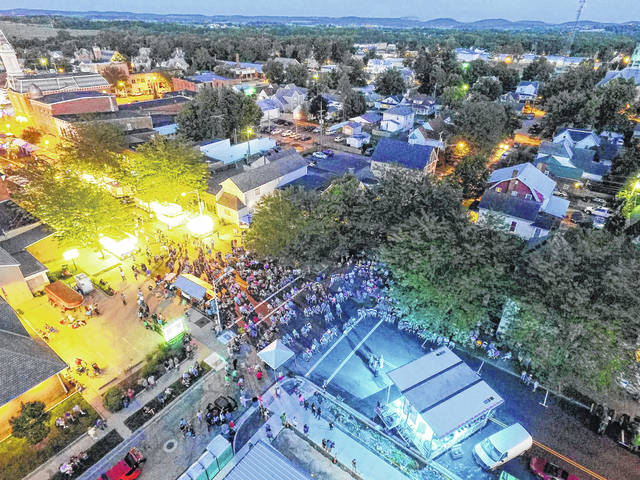 This aerial photo shows the Greenfield Countrie Towne Festival's main stage area (right) at the intersection of Jefferson and Fourth streets, and the main festival midway down Jefferson Street.