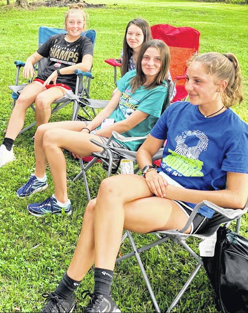 Pictured from (l-r) are Gracie Thoroman, Jenna Rhodes, Ramsey Haines and Addyson Miles at the Hillsboro FFA summer meeting.