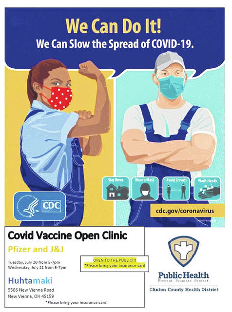 The Huhtamaki vaccine clinic is open to the public Tuesday and Wednesday, 5-7 p.m.