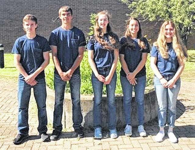 The members of the Lynchburg-Clay Gold Team that placed second in State Envirothon are pictured (l-r) Sam Hamilton, Austin Leininger, Sydney Hamilton, Allison Kohus and Bridget Wilkin.