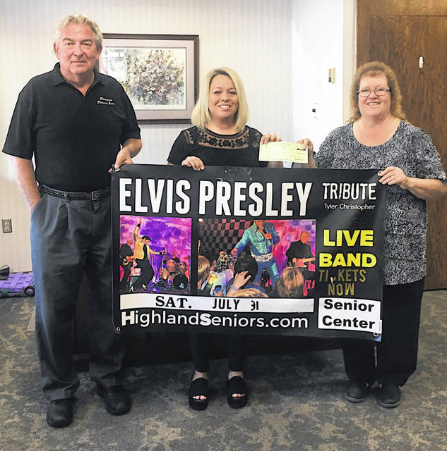 Merchants National Bank recently presented a platinum sponsorship check for $1,000 to Highland County Senior Citizens Center Executive Director Mechell Frost for the center's annual Elvis Presley Tribute Dinner and Show fundraiser. The event is Saturday, July 31 and is open to the public. Limited tickets remain available. Interested parties can inquire more about the event by contacting the center at 937-393-4745 or can purchase tickets on the center's website at HighlandSeniors.com. Pictured (l-r) are Paul Pence, president of Merchants National Bank; Frost; and Bertha Hamilton, Merchants National Bank.