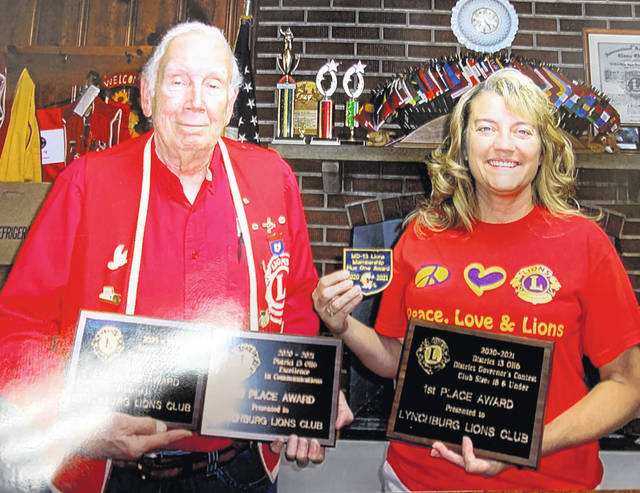 From left are Lynchburg Lions President Bob Roth and Lions Treasurer Chris Hamlin with the awards won by the Lynchburg club.