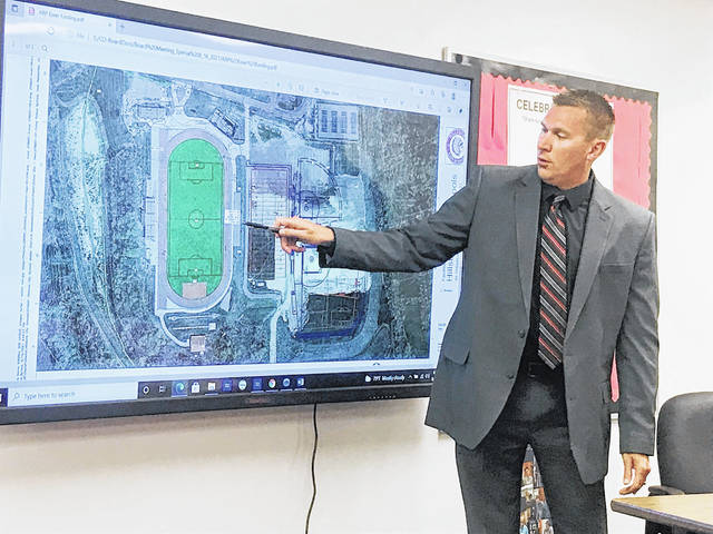 Superintendent Tim Davis points to an area where some improvements could be made at the Hillsboro City Schools athletic complex.