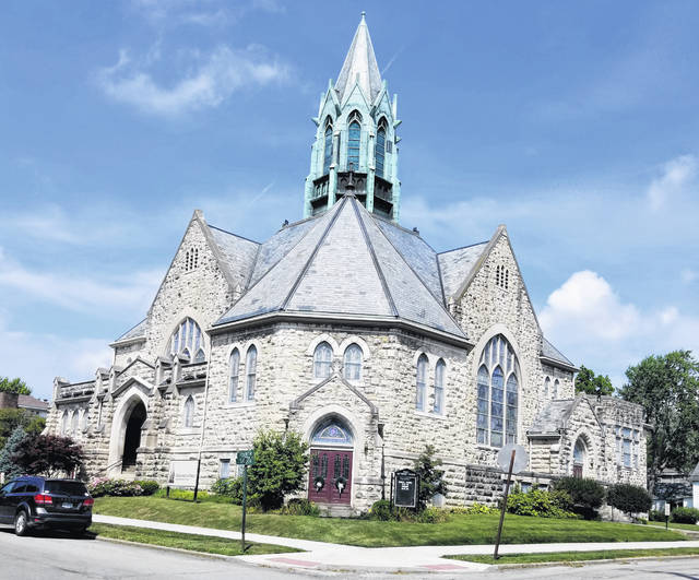 This is a picture of the Greenfield Methodist Church at the corner of Mirabeau and Second streets.