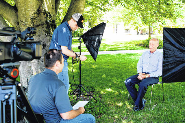 Monte Anderson (right) is pictured being interviewed earlier this summer by Ohio Ag Net Radio's Matt Reese and Kolt Buchenroth. The interview will comprise part of a featured video presentation on Anderson to be viewed at the induction ceremony.