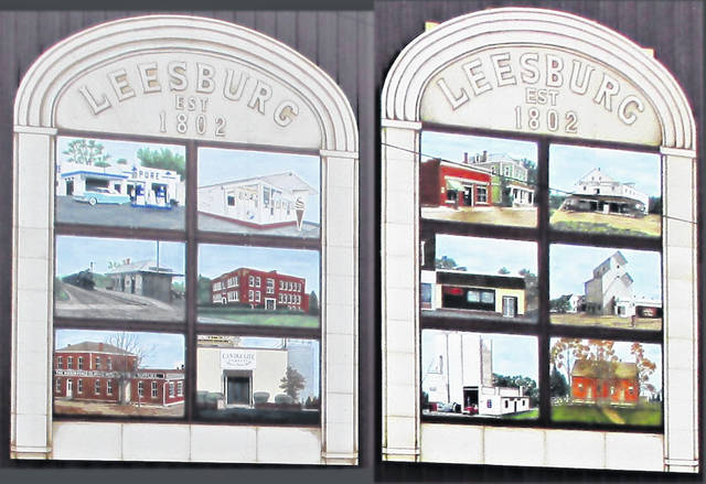 This is a picture of the murals in the Leesburg Downtown Pocket Park as painted by Mia Melson.