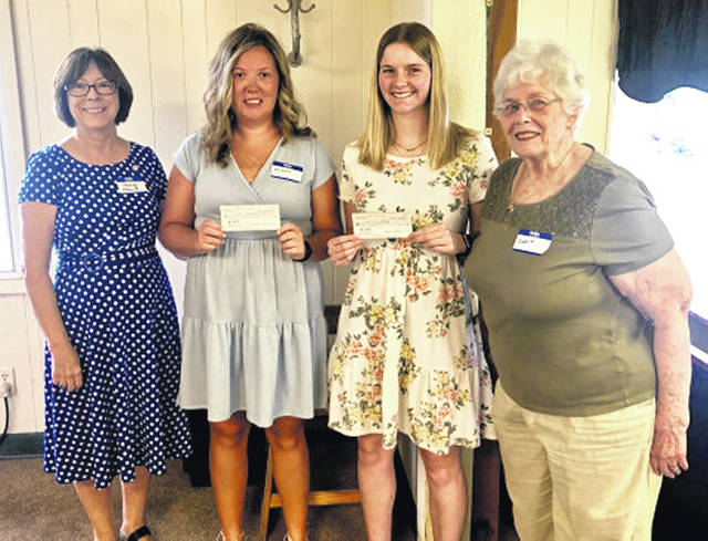 Pictured are (l-r) Mary Black, Highland County Retired Teachers Association scholarship chair; Madison Miller; Sarah Free; and Doris Pulse, HCRTA teasurer. Not pictured is Ciara Colwell.
