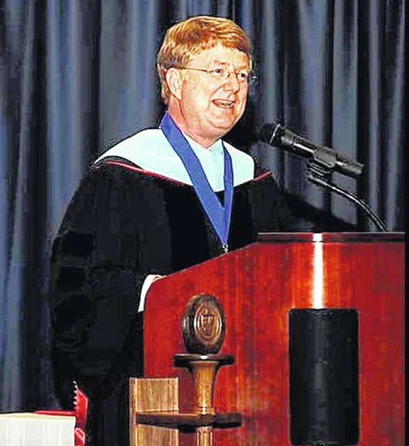 Southern State President Dr. Kevin Boys speaks at a graduation ceremony.