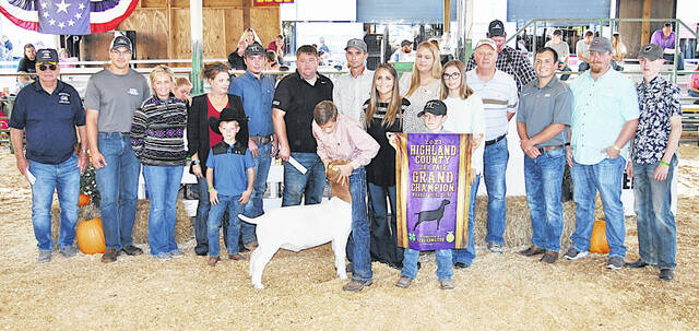 Wyatt Osborn's Grand Champion Market Boer Goat sold for $30 per pound Friday at the Highland County Fair. It was purchased by Hamilton Insurance, Greystone Systems Inc., Kayleesue Laber-Coldwell Banker, First State Bank, Hamilton Livestock, Dickey Group Real Estate, Rick and Rachel Hostetler, Bohrer Vet Service, Merchants National Bank, Hillsboro VFW Post 9094, and Jeff Cluxton & Sons.