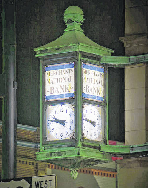 This clock located on the corner of a building at West Main Street and South High Street in Hillsboro was recently restored.