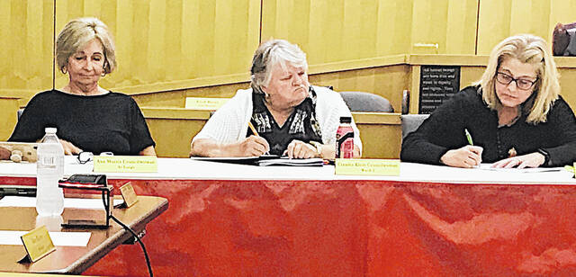 Hillsboro City Council members (l-r) Ann Morris, Claudia Klein and Patty Day are pictured at Monday's meeting held in the Hillsboro Municipal Courtroom.