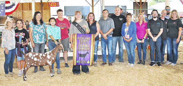 GJayah Chaney's Grand Champion Market Dairy Goat sold for a record $44.50 per pound Friday at the Highland County Fair. It was purchased by Clark Construction, Barry's Auto Group, Merchants National Bank, Inspire Training Center, Rick's TV and Appliances, Bohrer Vet Services, Bush Auto Place-Wilmington, Bill Sibrel Excavating, Southern Hills Community Bank-Hillsboro, Baxla Tractor Sales, Etter General Contracting LLC, Burwinkel Denistry, Tom and Dee Kier, Our Everlasting Memories Photography, Wilkin Heating and Air Conditioning, Gary Coffman Electric, Maynard Smith Insurance, Lewis Financial Group, Newman Barton Group, Batavia Dairy Queen and Mount Orab Dairy Queen.