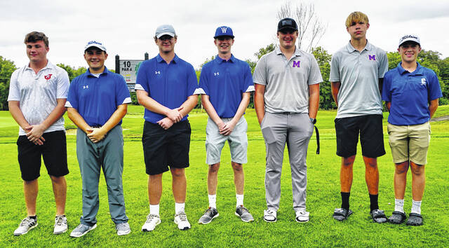 The 2021 All-Frontier Athletic Conference Golf Team is pictured (l-r) Ethan Rasp, Jackson; Garrett Wahl, Garrett DeWees and John Wall, Washington; David Edwards and Wesley Potts (FAC Player of the Year), McClain and Aidan Fischer, Chillicothe.