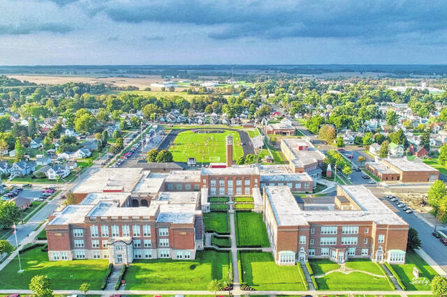 This is a modern-day view of the whole of the Greenfield campus seen in a drone shot by Greenfield photographer Michael Seely.