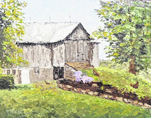 This is a painting by Robert Kroeger of the Tim and Sandy Shoemaker barn on Grabill Road.