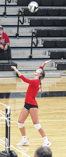 Hillsboro's Gracie Dean serves last week at Miami Trace. The Lady Indians were swept in the Frontier Athletic Conference match, three games to none.