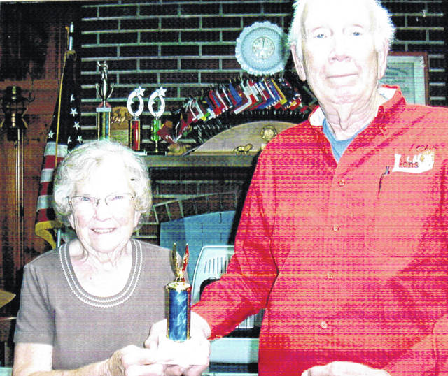 At the District Lions Club Convention held recently in Blue Ash, special awards were presented by the district governor to members who have made major contributions of community service over the years. Lynchburg Lions Club member Virginia Rhonemus received on the awards. Rhonemus has been an active member of the club for many years. She has been involved in nearly every Lions event and also served the community in various activities that make the area a better place to live. Pictured are Rhonemus (left) with her district award and Lynchburg Lions Club President Bob Roth.